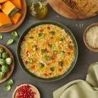 Risotto a la calabaza con chips de verduras y queso Grana Padano