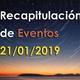Recapitulación de eventos y acciones Enero 2019