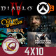 GR (4x10) Diablo 4, Overwatch 2, WoW, Death Stranding, Xbox All Access, The Outer Worlds, Medievil, CoD Modern Warfare